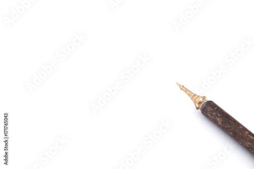 Fountain pen on the white sheet