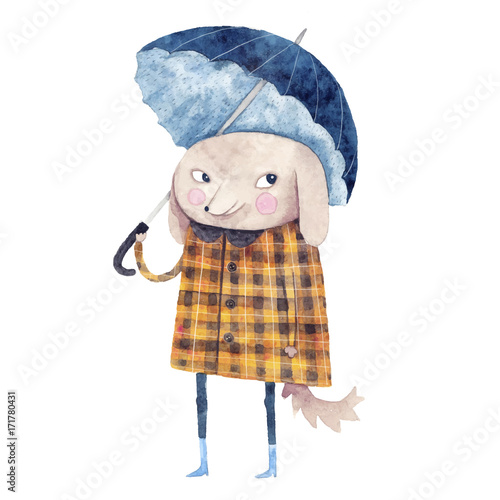 Watercolor illustration with cute dog and ubrella. Hand drawn painting. Perfect for nursery rooms. - 171780431