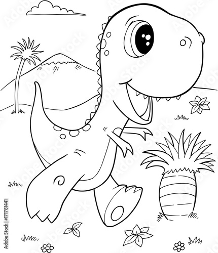 In de dag Cartoon draw Cute Tyrannosaurus rex Dinosaur Vector Illustration Art