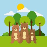 forest and animals bear wildlife natural vector illustration