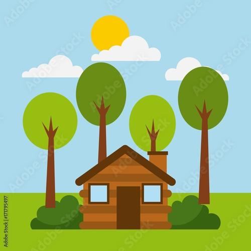 Fotobehang Pool forest cottage house natural landscape vector illustration