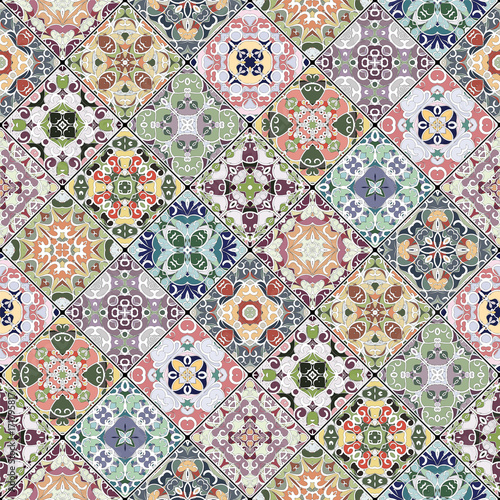 Decorative background in ethnic style. The rich decoration of abstract patterns for construction of fabric or paper. Vector illustration. - 171795817