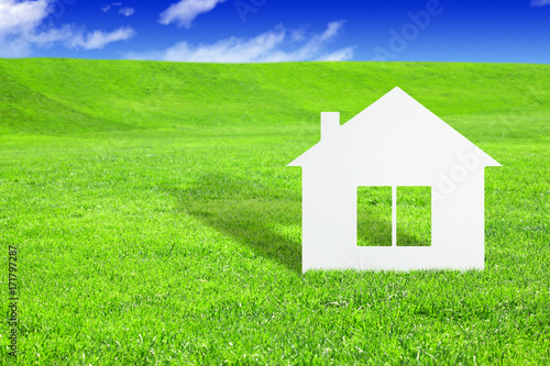 fototapeta na ścianę Green home concept, paper house on grass
