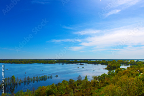 Wall mural Summer landscape with beautiful river.