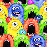 Watercolor seamless pattern with funny monster heads. Celebration illustration. Cartoon horror party. Funny beasts. Baby background. Can be use in holidays, birthday design, posters, card. - 171802288