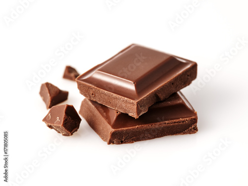Macro photo  of Chocolate bar. Broken pieces over white background. - 171805085