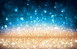 Xmas Shiny Background - Glittering Effect With Golden And Blue Bokeh - 171808269