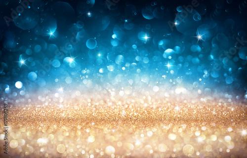 Boże Narodzenie Błyszczące Tło - Błyszczący Efekt Złotym I Niebieskim Bokeh