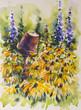 Summer flowers landscape. Rudbeckia in garden watercolors painted.