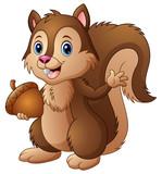 Cartoon squirrel holding an acorn - 171819682