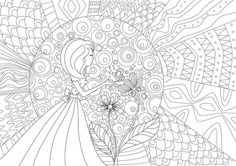 pretty girl with butterfly and abstract pattern of sun. coloring