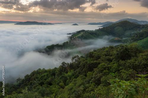 Plakat Fog Landscape , Sunrise mornings landscape , Nongkhai Thailand