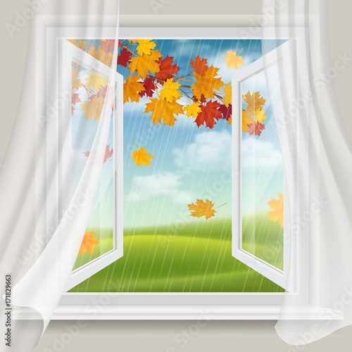 View of autumn landscape with falling leaves through an open window. - 171829663