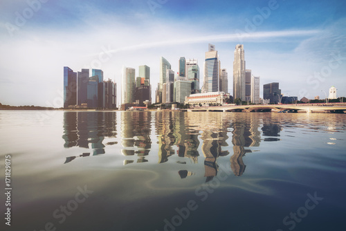 Singapore Skyline at Sunrise at Marina Bay Poster