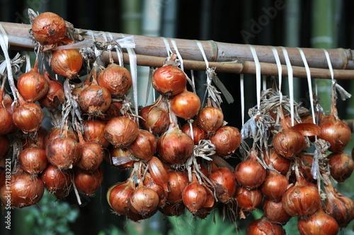 Foto op Canvas Bruin 竹林の傍で玉ねぎを干す秋の農村風景