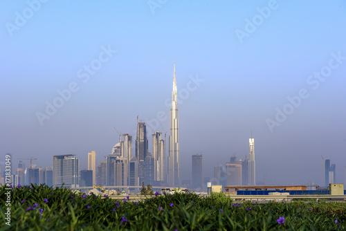 Fotobehang Dubai Morning Glow of Dubai Skylines
