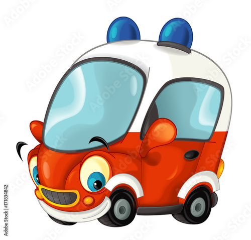 Cartoon happy fire brigade car - isolated - illustration for children - 171834842