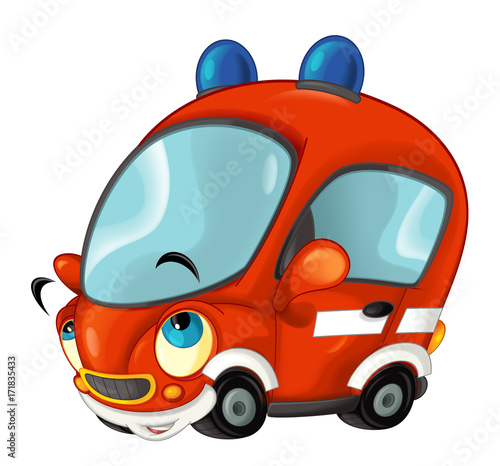 Cartoon happy fire brigade car - isolated - illustration for children - 171835433