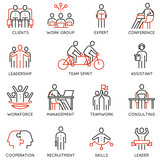Vector set of linear icons related to collaboration, cooperation, team work and human resource management. Mono line pictograms and infographics design elements - 171835678