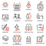 Vector set icons related to career progress, corporate management, business people training and professional consulting service. Mono line pictograms and infographics design elements - part 2 - 171835696