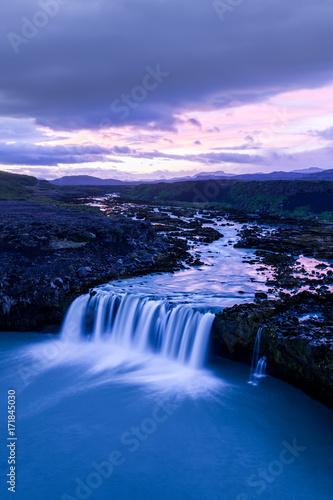 Dawn, Plofafoss waterfall, Pjorsa River, Iceland Poster