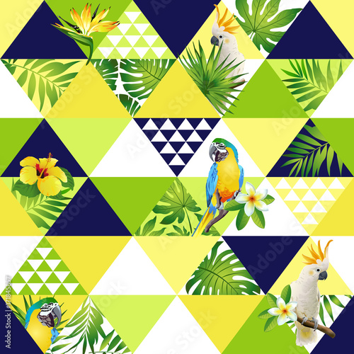 Fototapeta  Exotic beach trendy seamless pattern, patchwork illustrated floral vector tropical banana leaves. Jungle cockatoo, parrot Wallpaper print background mosaic