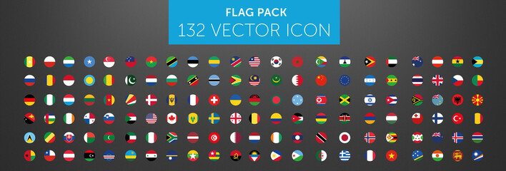 WORLD FLAG vector collection 132 circle icon