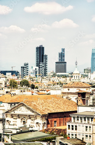 Poster Milan Milan city, Italy, yellow filter