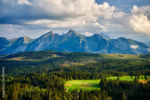 Wall mural Panorama of Tatra Mountains in summer, Poland