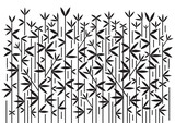Bamboo decorative black background. Black and white stylized  illustration of bamboo.Vector available.