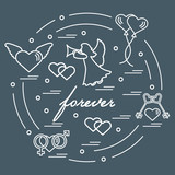Cute vector illustration with different love symbols: hearts, air balloons, key, angel and other  arranged in a circle.