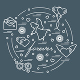 Cute vector illustration with different love symbols: hearts, air balloons, postal envelope, angel and other arranged in a circle.
