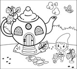 Coloring Page Activity with Gnome For Children (Vector illustration)