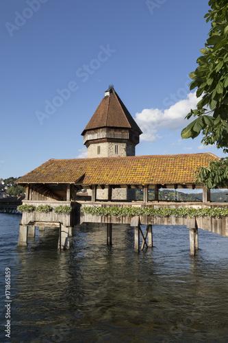 mata magnetyczna Lucerne with wooden bridge called chapel bridge