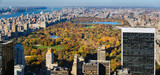 Elevated view of Central Park in autumn colors with skyscrapers and buildings of the Upper West Side, Upper East Side and the distant George Washington Bridge  Manhattan, New York City - 171866639