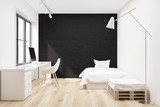 Black bedroom, computer and poster - 171867663