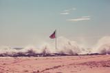 American Flag on Jetty - 171868204