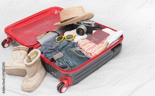 Travel accessories costumes. Passport, luggage, camera, sunglasses