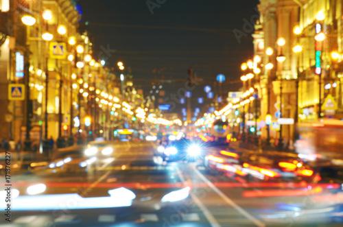 Aluminium Nacht snelweg Electric city lights at night.