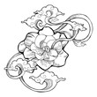 Cape jasmine, Gardenia jasmine and aroma cloud design by  ink drawing tattoo vector with white isolated background. the Gardenia jasmine is a white little flower for Makha Bucha Day