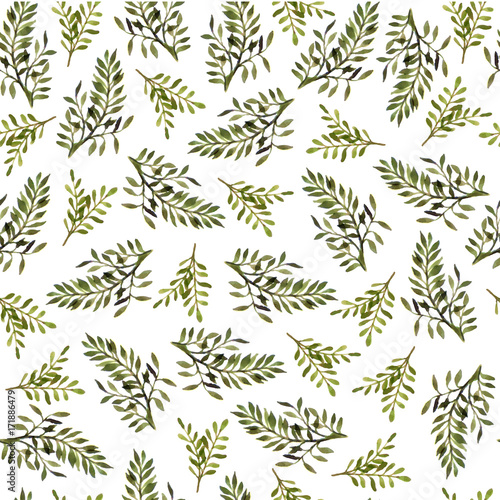 Seamless watercolor floral pattern. The tender leaves. Botanical ornament for textiles, Wallpaper, packaging. - 171886479