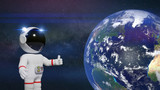 cartoon astronaut character with thumbs up presenting planet Earth  - 171887073