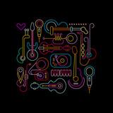 Fototapety Musical Instruments Neon Design
