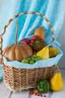 Homegrown still life of autumn harvest - pumpkin, pear, bell pepper, grape, tomato