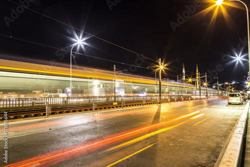 Long exposure aesthetic view of Galata Bridge Poster