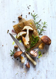autumn cooking  background;  organic porcini Mushroom; seasoning forest Mushroom and Italian Spices Herb - 171896280