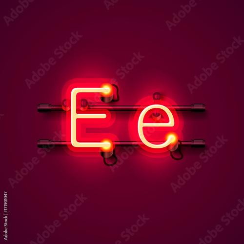Poster Neon font letter e, art design singboard. Vector illustration
