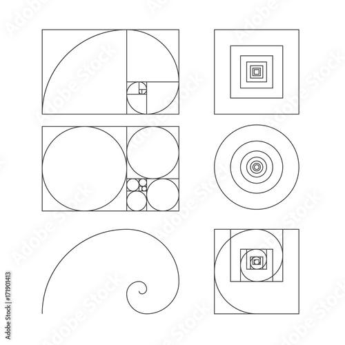złoty stosunek szablon wektor ilustracja Fibonacci