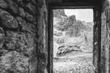 Black and white view of dolomitc pinnacle from first world war italian post ruins at Fontananegra Pass, Dolomites, Cortina d'Ampezzo, Italy