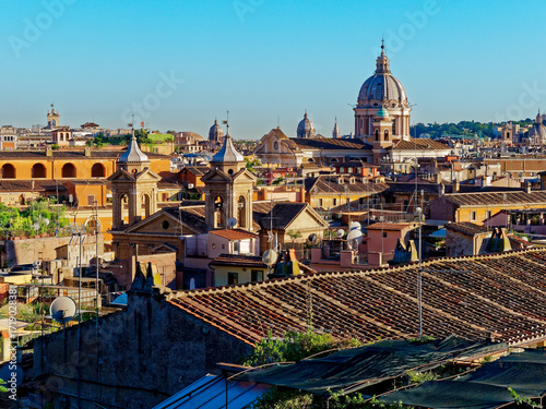 Panorama of Rome with view of san carlo al corso dome Poster